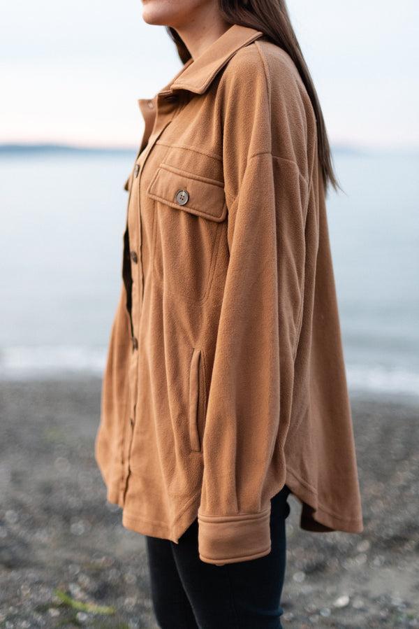 Pacific Northwest Shacket in Camel