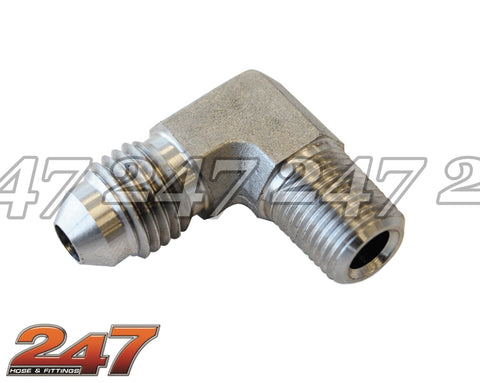 Stainless Steel NPT Female to Male 90 DEG
