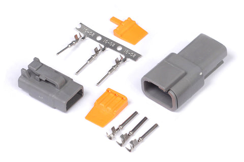 Plug and Pins Only - Matching Set of Deutsch DTM-3 Connectors (7.5 Amp)