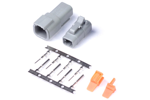 Plug and Pins Only - Matching Set of Deutsch DTM-4 Connectors (7.5 Amp)