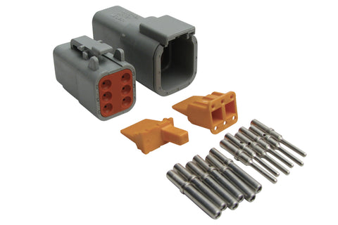 Plug and Pins Only - Matching Set of Deutsch DTM-6 Connectors (7.5 Amp)