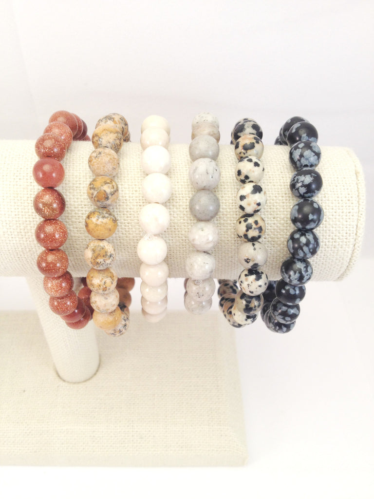 plain neutral stretch bracelets