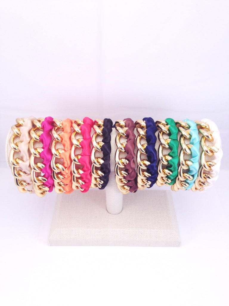 chain and ribbon bracelet