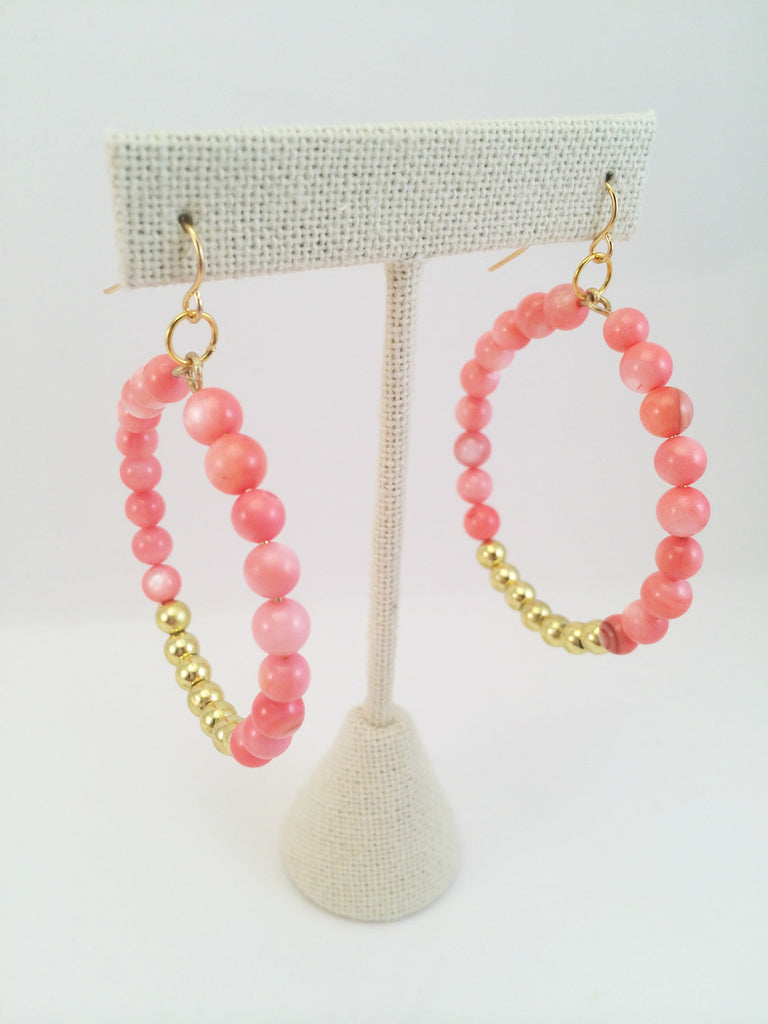 beaded gold hoops