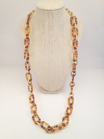 alternating chain loop tortoise shell necklace