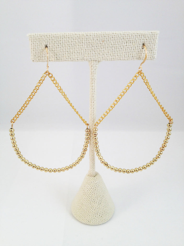 gold beaded half hoop