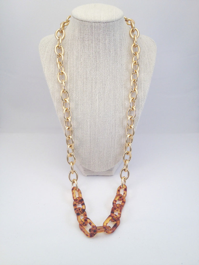 chain loop and tortoise shell necklace, large