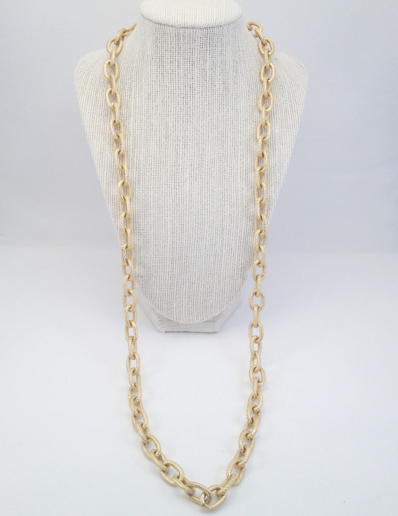 chain loop necklace, textured-large