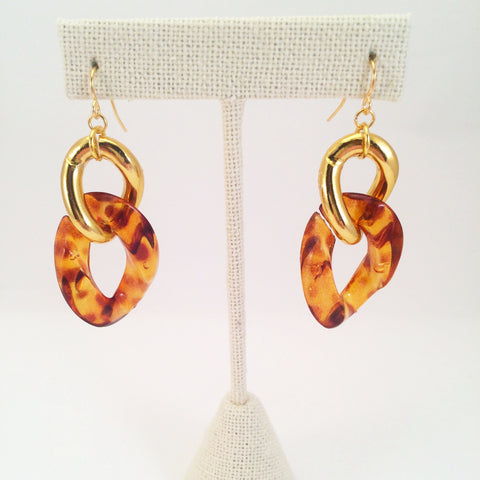 tortoise  shell link earrings