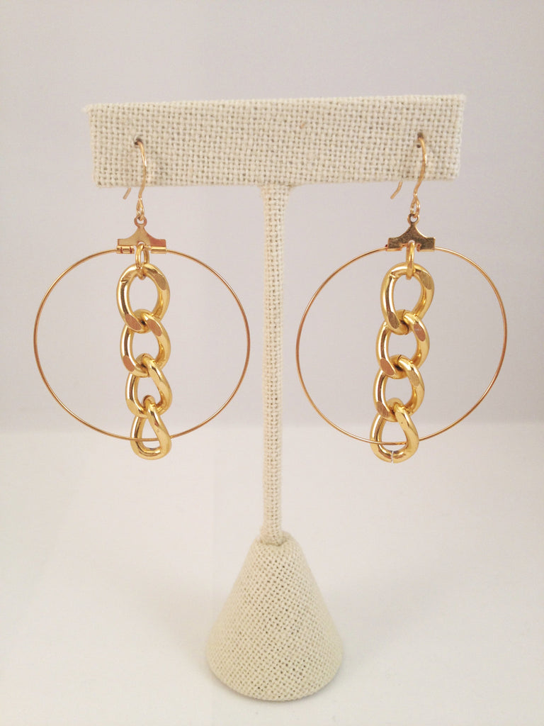 gold hoop and chain earrings