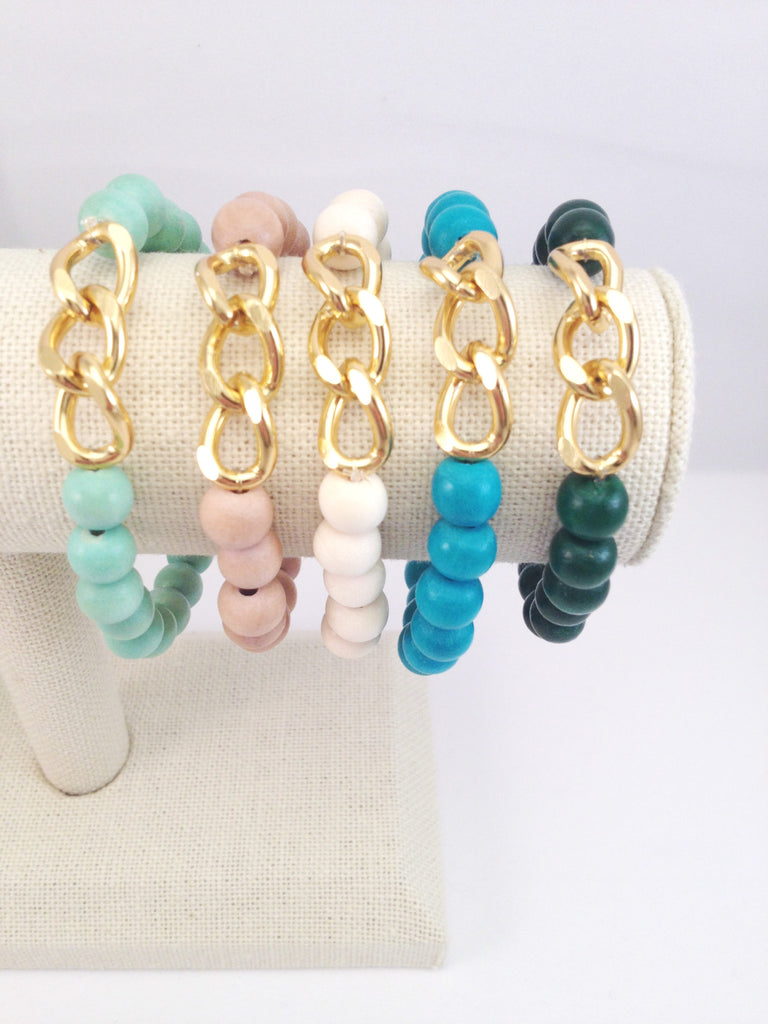 3 chain link stretch bracelet, small