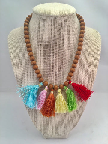 mini multi tassel necklace