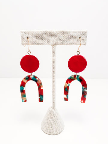 Red U Earrings