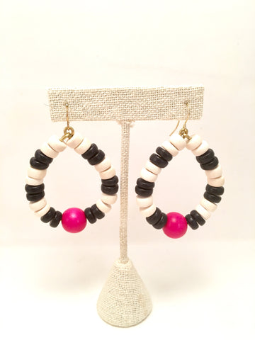 beaded disc hoops, multicolor