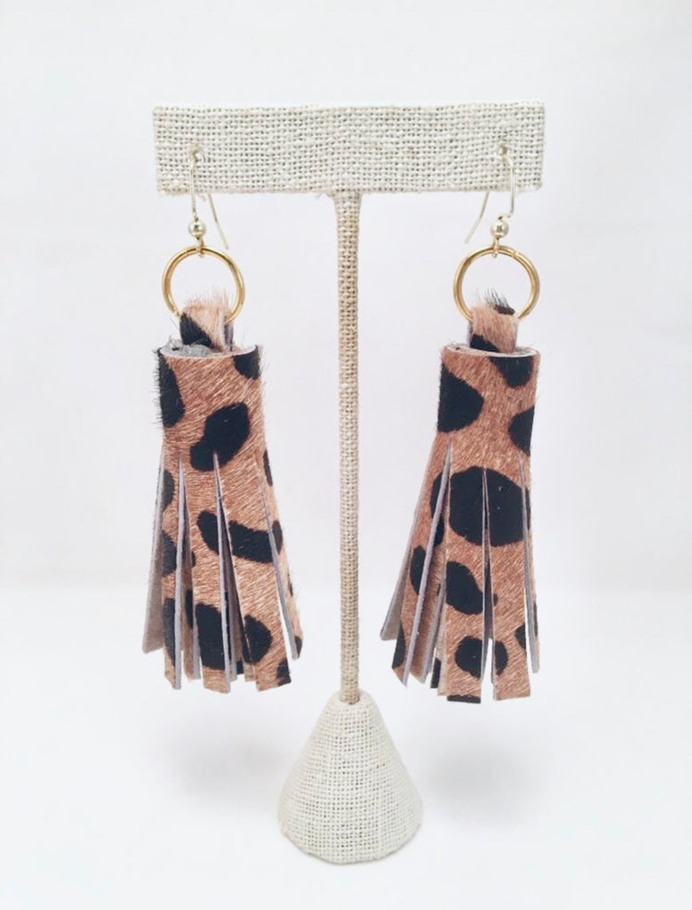leopard chunky tassel earrings