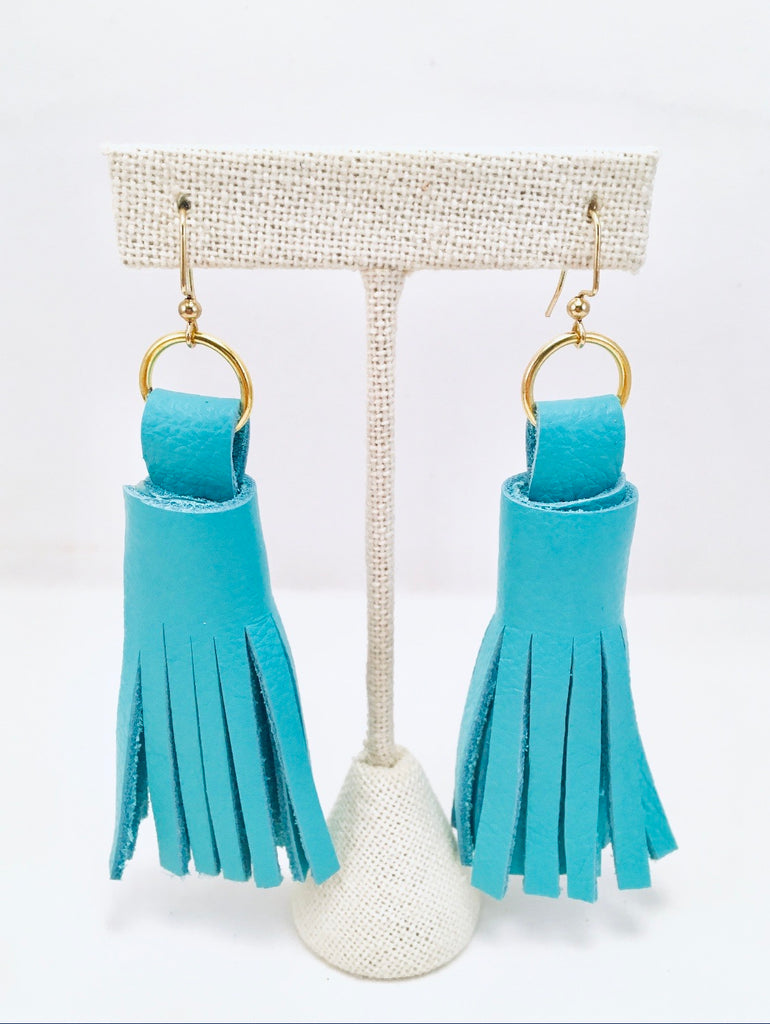 Chunky Leather Tassel Earrings