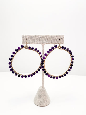 Beaded wrapped hoops