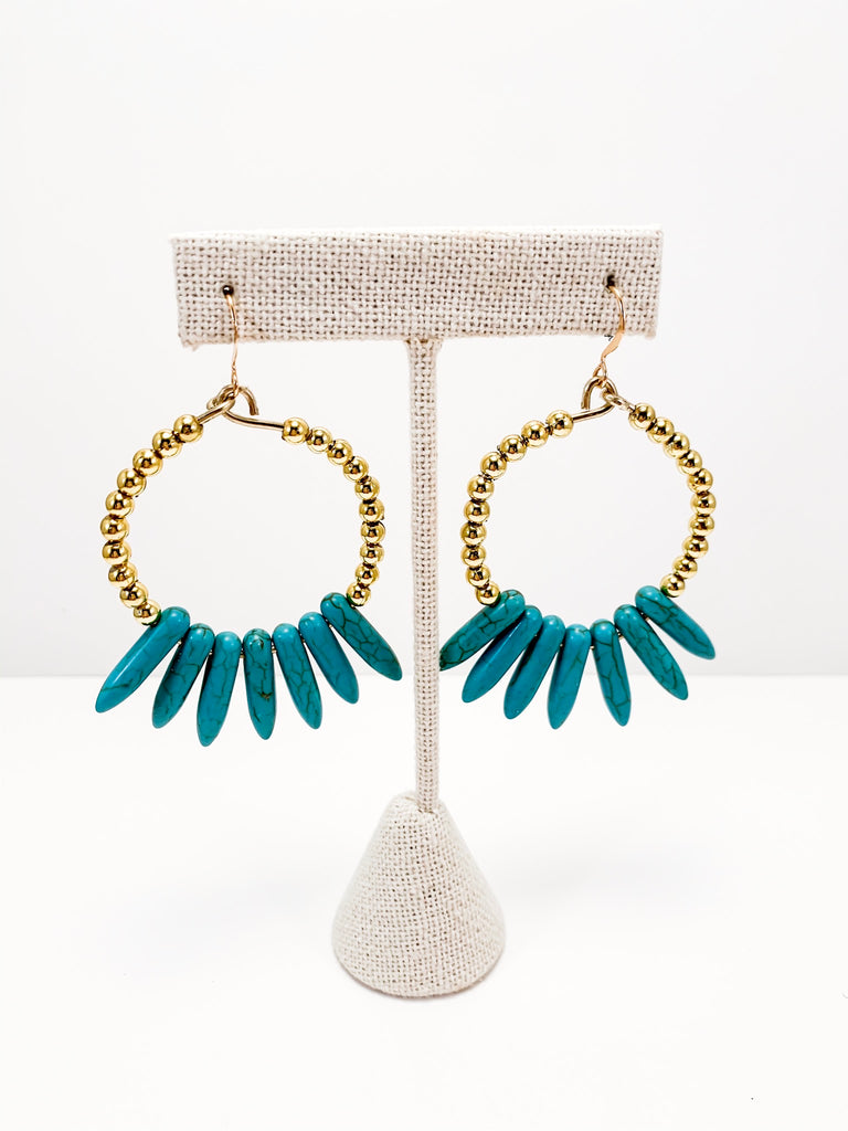 Turquoise spike hoops