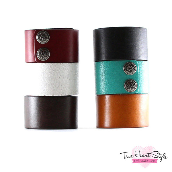"Best Seller - Wide Leather Cuff Bracelet, Plain, 1.5"" Wide. Snap Closure. (B050-PL)"