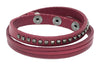 Leather Wrap Bracelet, Studded, Sliced with Snap Closure (B065)