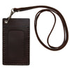 Badge ID Holder with Solid Leather Lanyard Cord. Genuine Leather, Two Pockets with Window (A302)