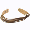 Best Seller - Rustic Multi-Strand Leather Wrap Bangle Bracelet. Snap Closure. (B001-R)