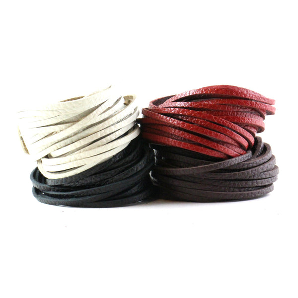 Textured Leather Wrap Bracelet Black Brown White Red. Multi-stranded Leather Cuff (B001-T)