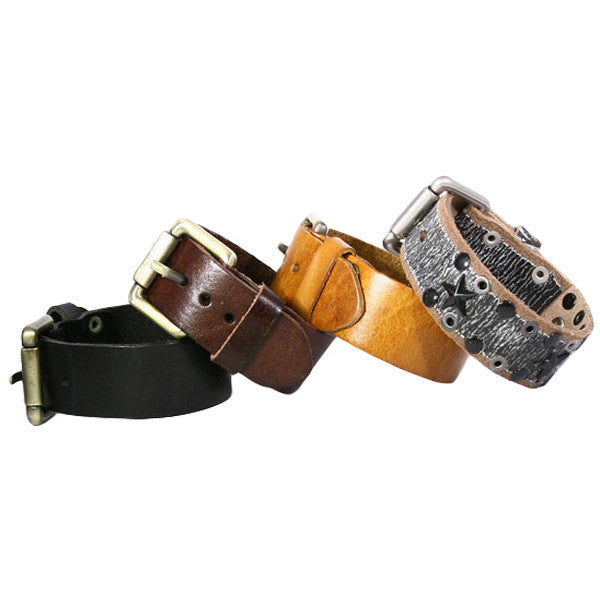 Leather Bracelet Cuff. Bronze Belt Buckle Closure. (B003-PL)
