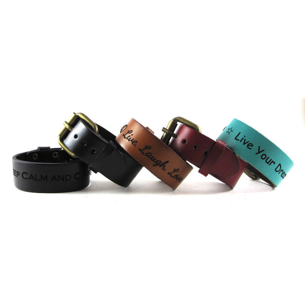 Personalized Leather Bracelet Cuff, Engraved with Your Custom Message. Bronze Belt Buckle Closure. (B003-PS)