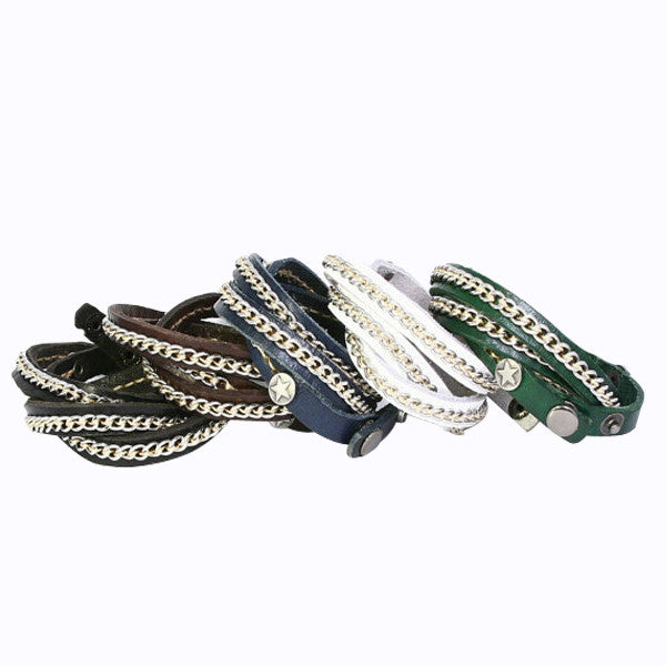 Metal Chain Leather Bracelet, Skinny Wrap Style. Snap Closure. (B004)