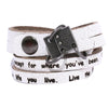 Best Seller - Personalized Two-Strand Leather Wrap Bracelet. Metal Charm. (B006-PS)