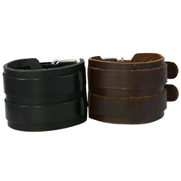 Best Seller - Chunky Leather Cuff Bracelet, Double Metal Belt Buckles (B007)