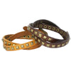 Double Leather Wrap Bracelet, Metal Pyramid Studs. Belt Buckle Closure. (B013)