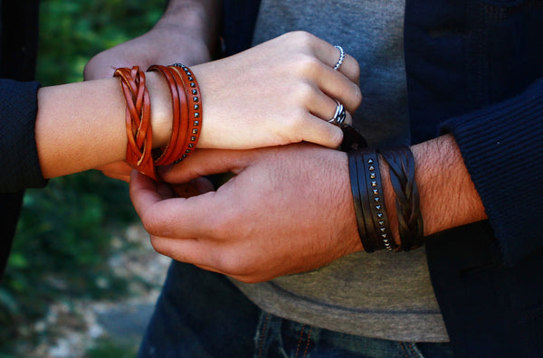 #New Product Best Seller - Leather Wrap Bracelet with Strands, Braid, and Pyramid Studs. (B016-PYR)