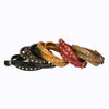Triple Wrap Leather Bracelet, Metal Pyramid Studs. Belt Buckle Closure. (B032)