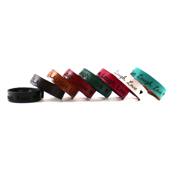 Personalized Leather Bracelet Band, Engraved with Your Custom Message. Snap Closure. (B049-PS)