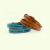 Personalized Leather Double Wrap Bracelet With Oval Metal Buckle (B053-PS)