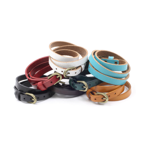 Plain Leather Triple Wrap Bracelet With Oval Metal Buckle (B054-PL)