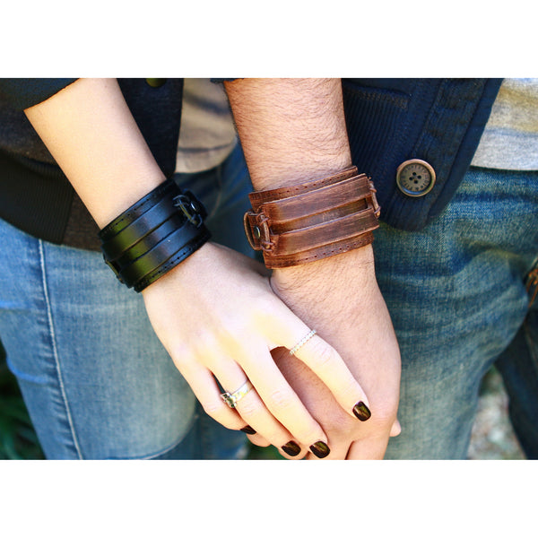 Double Layered, Double Banded Leather Cuff with Stitching and Snap Close (B063)