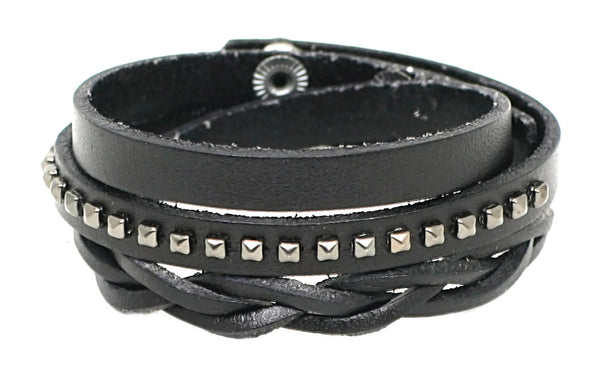 Leather Wrap Bracelet, Braided Studded with Snap Closure (B066)