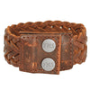 Genuine Leather Braided Cuff. Big Bold Chunky Wide Thick Black Brown. Snap Closure. (B073)