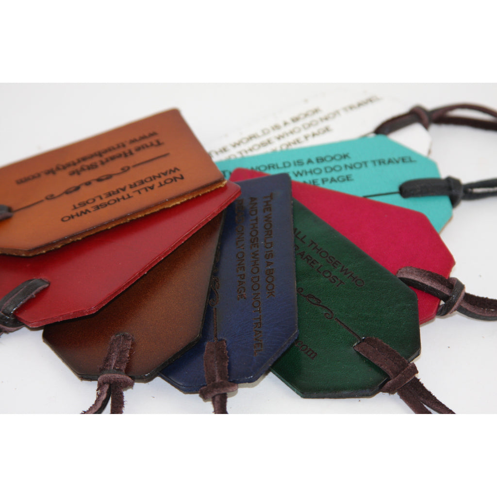 Best Seller - Engraved Leather Luggage Tags, Set of Two Tags (L001-2)