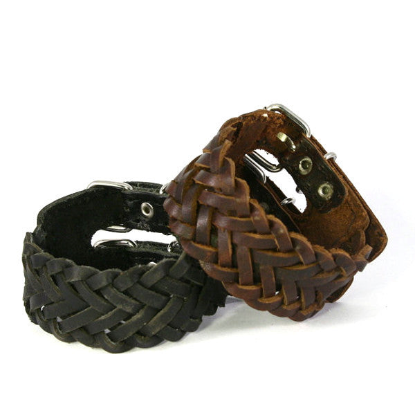 Chunky Double Buckle Braided Leather Cuff Bracelet. Buckle Closures. (B014)