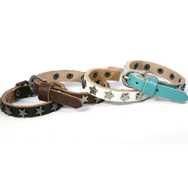 Star-Studded Leather Bracelet. Buckle Closure. (B018)