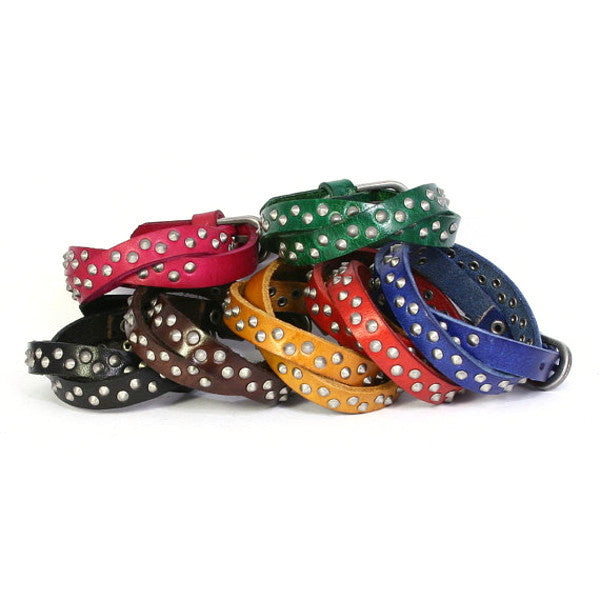 Studded Leather Wrap Bracelet with Cone Shaped Studs. Buckle Closure. (B023)
