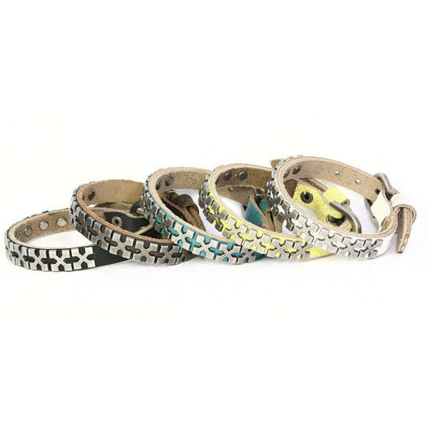 X-Studded Narrow Leather Bracelet. Buckle Closure. (B024)