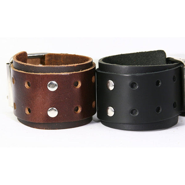 Single Buckle Chunky Leather Cuff with Decorative Holes and Metal Studs. Buckle Closure. (B038)