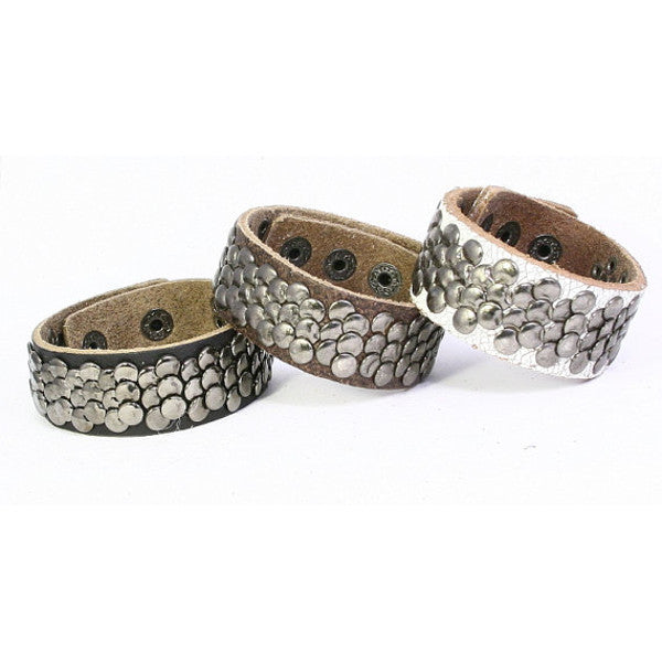 Leather Cuff with Overlapping Flat Metal Studs, Narrow Band. Snap Closure (B047)