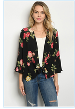 Load image into Gallery viewer, Black with Roses Print Top