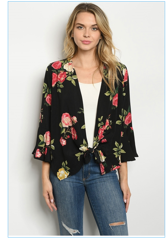 Black with Roses Print Top
